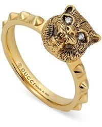 Gucci Le Marche Des Merveilles 18kt Yellow Gold Tiger Head Ring - Metallic