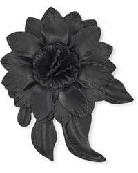 Calibre Large Black Leather Flower Lap