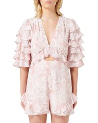 Thurley Gia Ruffle Playsuit - Pink