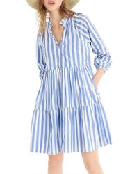 J.Crew Tiered Popover Dress In Striped Cotton Poplin - Blue