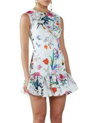 BY JOHNNY. - Ivory Flora Gather Mini Dress - Lyst