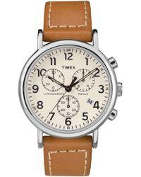 Timex - Wender Chrno 40mm Slv Tan Lthr - Lyst