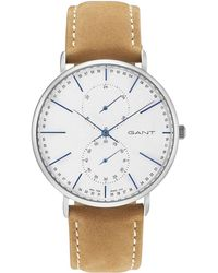 GANT - Wilmington, Steel, Silver Dial - Light Brown Leather - Lyst