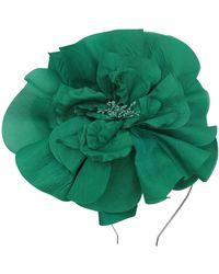 Morgan Taylor Large Silk Flower On Headband - Green