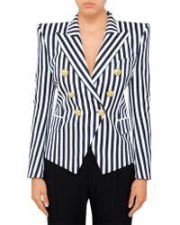 Balmain - Striped Double Breasted Blazer - Lyst