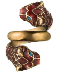 Gucci - Tiger Enamelled And Swarovski Crystal-embellished Wraparound Metal Ring - Lyst