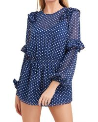The Fifth Label Titania Long Sleeve Playsuit - Blue