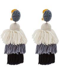 Oscar de la Renta - Long Silk Tiered Tassel C Earring - Lyst