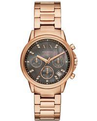 Armani Exchange - Lady Banks Rose Gold Watch - Lyst