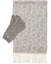 Calvin Klein Oversized Ck Logo Scarf And Glove Set - Gray