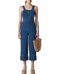 Whistles Tia Denim Button Jumpsuit - Blue