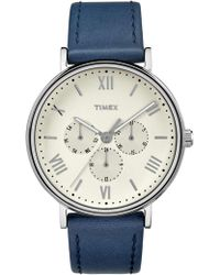 Timex - Southview 41mm Silver/blue Leather Watch - Lyst