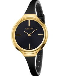 Calvin Klein - Lively Yellow Gold Pvd Case, Black Silicone Strap - Lyst