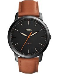 Fossil - The Minimalist 3h Brown Watch - Lyst