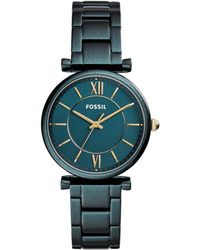 Fossil - Carlie Three Hand Teal Green Women's Watch - Lyst