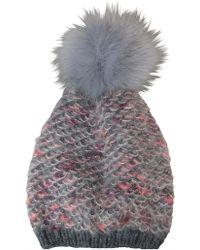 Morgan Taylor - Fuzzy Look Beanie With Fur Pompom - Lyst