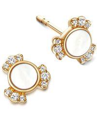 Astley Clarke Gold Luna Mini Mother Of Pearl Sapphire Stud Earrings - Metallic