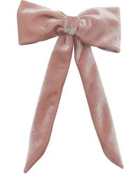 Morgan Taylor Blush Velvet Bow On Barrette - Pink
