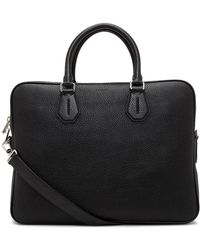 Bally - City Pebbled Leather Slim Briefcase W/ Shoulder Strap - Lyst