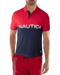 Nautica Blue Sail Chest Stripe Shipman Polo - Multicolour