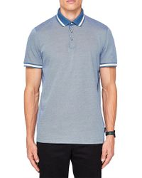 Ted Baker - Poodal Stripe Collar Textured Polo - Lyst