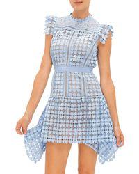 Self-Portrait Heart Lace Mini Dress - Blue