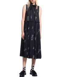 Karen Walker Queens Knight Cotton Voile Dead Draw Dress - Black