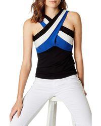Karen Millen - Striped Wrap Top - Lyst