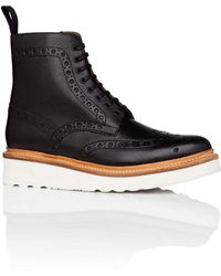 Grenson - Fred Lace Up Boot W/ Brogue Detail And Wedge Sole - Lyst