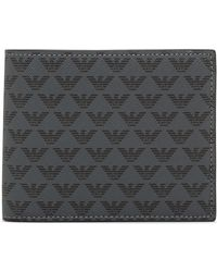Emporio Armani Minorca Wallet All Over Logo - Black