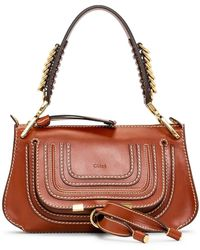 Chloé Marcie Small Saddle Bag With Rings On Handle - Brown