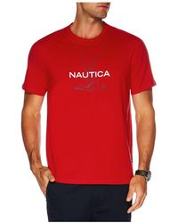 Nautica Anchor Flag Print Tee - Red