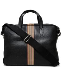 Paul Smith Multi-stripe Grained Leather Briefcase - Black