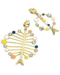 J.Crew Assymetrical Fish Earring - Multicolour