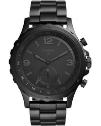 Fossil - Q Nate Black Stainless Steel Hybrid Smartwatch - Lyst