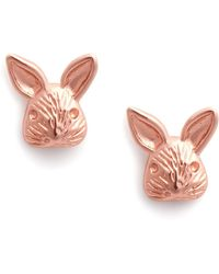 Olivia Burton 3d Bunny Stud Earrings Rose Gold - Pink