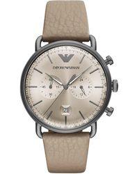 Emporio Armani - Aviator Grey Watch - Lyst
