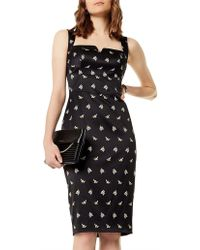 Karen Millen - Sprig Satin Dress - Lyst