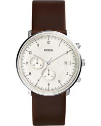 Fossil - Chase Timer Chronograph Brown Leather Watch - Lyst