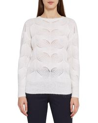 Reiss Dinah Mohair Blend Patterned Jumper - White