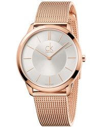 CALVIN KLEIN 205W39NYC - Minimal Polished Rose Gold Pvd Case And Mesh Bracelet - Lyst