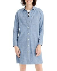 J.Crew Ls Chambray Shirtdress - Blue