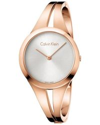Calvin Klein - Addict Lady Polished Rose Gold Pvd Bangle, Silver Dial - Lyst