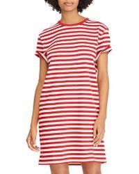 Polo Ralph Lauren Striped Jersey Dress - Red