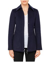 Armani Jeans - Mid Length Jacket With Collar - Lyst