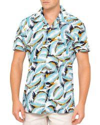BOSS by Hugo Boss - Esalsa Cotton/viscose Camp Collar S/s Tropical Print Shirt - Lyst