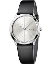 CALVIN KLEIN 205W39NYC - Minimal Black Leather Strap Silver Dial - Lyst