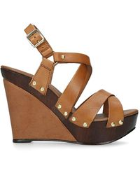 Carvela Kurt Geiger Kassandra Leather Wedge Sandals - Brown