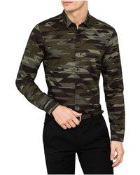 BOSS - L/s Cotton Camo Print Shirt - Lyst