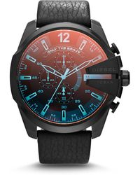 DIESEL - Men's Chronograph Mega Chief Iridescent Crystal Black Leather Strap Watch 51mm Dz4323 - Lyst